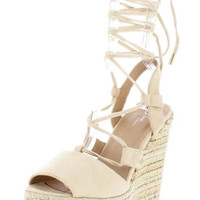 Blush Open Toe Lace Up Espadrille Wedge