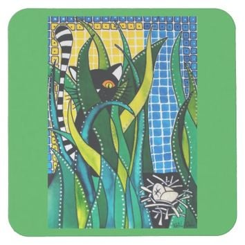 Hunter in Camouflage Whimsical Cat Art Square Paper Coaster
