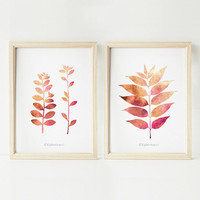 Printable wall art Set of 2 prints, 5x7 art prints, Pink home decor wall art, Bedroom decor Botanical art Nature prints, DIGITAL wall prints