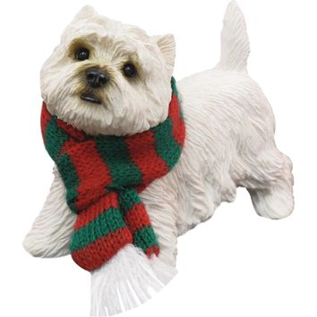 Sandicast Standing West Highland White Terrier w/ Scarf Christmas Dog Ornament