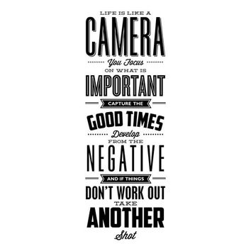 Inspirational Quote Print, Life is Like a Camera, Printable Quote Poster, Typography Poster, Digital Download Wall Art Printable Art