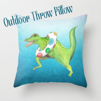 Outdoor Throw Pillow, T-Rex,  Artistic Illustration,  Outdoor decor, patio pillows, cushions, garden, poolside, lounge, dinosaur