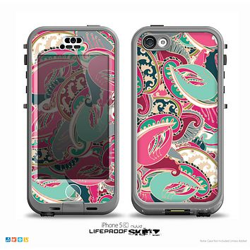 The Colorful Pink & Teal Seamless Paisley Skin for the iPhone 5c nüüd LifeProof Case
