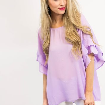 Lily Ruffle Sleeve Top | Lilac