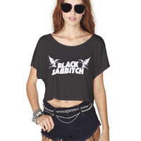 black sabbath logo crop top  Crop Shirt , Custom Crop Shirt , Woman Crop Shirt
