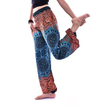 Women's Rose Circle Mono Tone Thai Fisherman Yoga Clothing Aladdin Pants Baggy Pants Gypsy Women Harem Pants Free Shipping