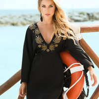 Black Sun Dress With Bell Sleeves Beach Cover-Up