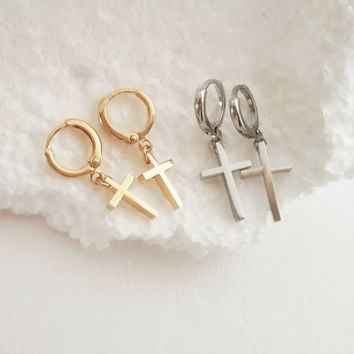 Gold Cross Earrings, Silver Cross Hoop Earrings, Cross Shape Hoops, Minimalistic Earrings, Rock / E519