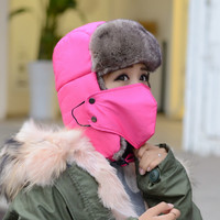 Women Winter Hat Unisex Ski Mask Skullies Cap Coldproof Balaclava Warm Face Cover Hats For Motorcycle Bike Beanies With Ear Flap