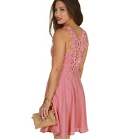 Sale-pink Crochet Back Dress