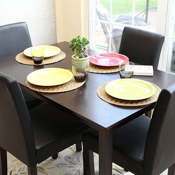 New Century® 5 Pieces Black Faux Leather 4 Person Dining Table With Chairs