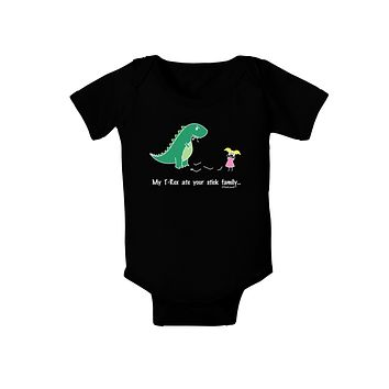 My T-Rex Ate Your Stick Family - Color Baby Bodysuit Dark by TooLoud