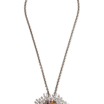 Balenciaga - Convertible palladium-tone crystal necklace