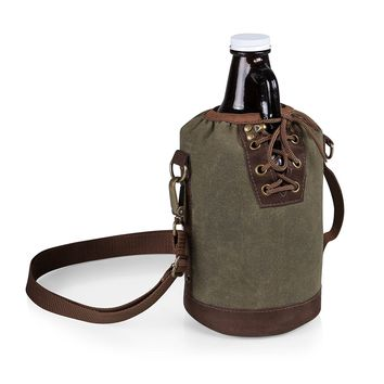 Waxed Cotton Canvas Lace Up Growler Tote