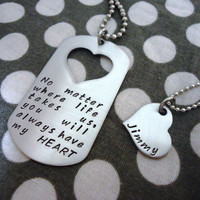 Customizable Personalized Dog Tag Necklace His and by One27Designs