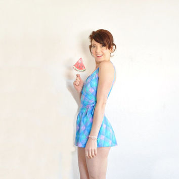 unicorn color skirt swimsuit . one piece aqua mint purple maillot .medium