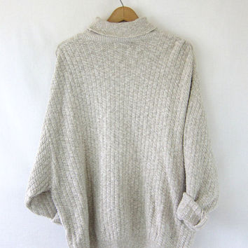 vintage oversized cotton sweater. oatmeal knit shirt. slouchy turtleneck sweater . coziest baggy sweater Women's XL XXL 24W