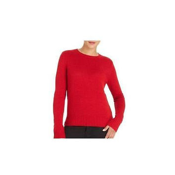 Women's Crew Neck Sweater W/Elbow Patch, Classic Red, Medium Faded Glory
