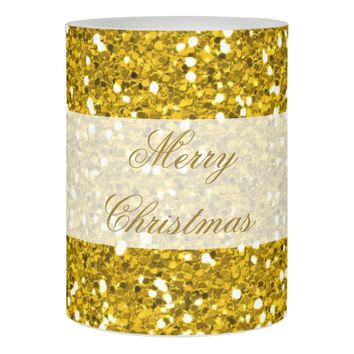 Merry Christmas Festive Gold Glitter Flameless Candle