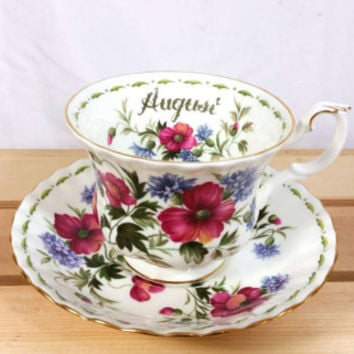 Vintage Royal Albert Flower of the Month August Teacup and Saucer/Bone China Poppy Teacup and Saucer/England Bone China Teacup