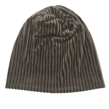 B178174 fashion new style comfort striped ribbed velvet beanie hat,accessories for women