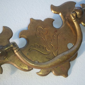 Chippendale Federal Style Drawer Pulls  Handle Hardware with Engraved Floral Design