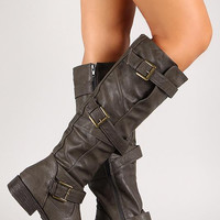 Multi-Strap Buckle Knee High Riding Boot Color: Brown, Size: 5.5