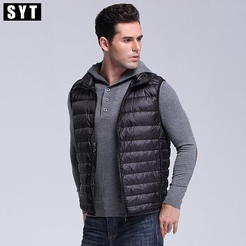 SYT 2017 Brand male Vest Jacket Winter Men Down Coat Light 90% Down  Vest Short Slim Down Men Vest YDL05