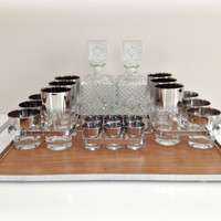 Vintage Glassware Ombre Silver Fade Glasses by vintage19something