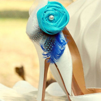 Shoe Clips Tiffany Turquoise Royal Blue & Guinea Feathers. Aqua Opal Fabric, Ivory / White Pearl, Couture Spring, Bride Bridal Bridesmaids