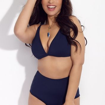 Falling For You Multifit Triangle Bikini Top (Curves) - Navy