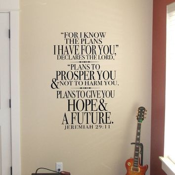 $40.00 Supermarket - Jeremiah 29 - For know the plans I have for you...vinyl wall decal from Old Barn Rescue Company Wall Decals