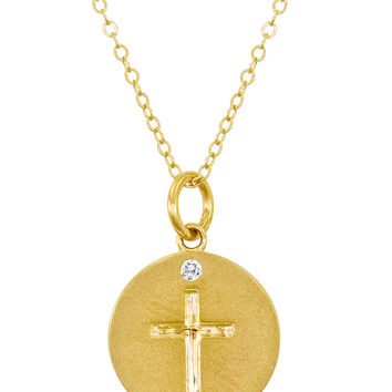 Nephora Women's 0.05 Total Ct. Diamond & Gold Engraved Cross Disc Pendant Necklace