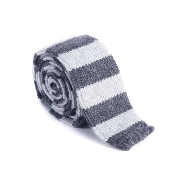 Brunello Cucinelli Men's 100% Cashmere Gray Striped Tie
