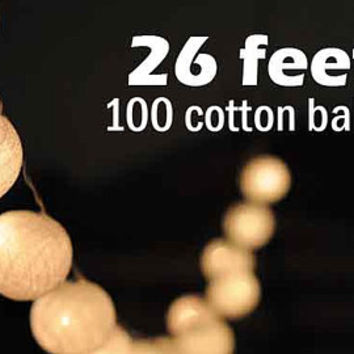 26 feet long 100 cotton ball LED light warm white string light hanging Xmas party decoration Christmas decor  bedroom light night light