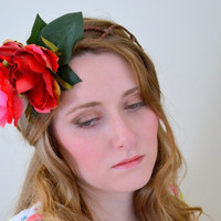 Floral crown flower crown rose crown headband wreath pink festival - 'Belle'