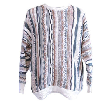 Coogi Style Sweater Neutral Colors Florence Tricot Brand Cosby Sweater Size Large