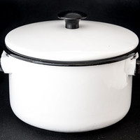ENAMELWARE. ENAMEL COOKWARE. White Enamelware. Vintage Vollrath Ware. White with Black Trim. Enamel Double Boiler and Pot Set.