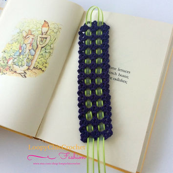 Crochet Bookmark, Crochet Bookmark with Ribbon, Bookmarks, Gift for Bookworms, Books, Unique Bookmark
