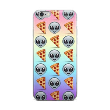 Alien & Pizza Emoji Collage Pizza Lovers Teen Girls Tie Dye Pink Tan Sky Blue & Purple iPhone 4 4s 5 5s 5C 6 6s 6 Plus 6s Plus 7 & 7 Plus Case