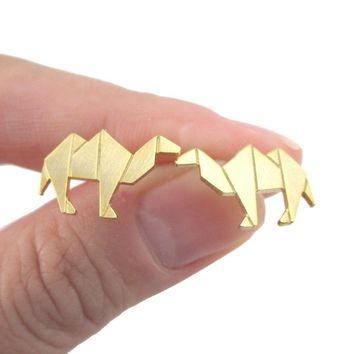 Origami Camel Shaped Allergy Free Stud Earrings in Gold