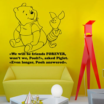 Wall Decals Vinyl Decal Winnie the Pooh Quote We Will Be Friends Forever Cartoon Home Vinyl Decal Sticker Kids Nursery Baby Room Decor kk85
