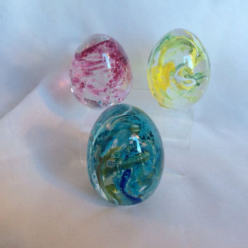 Blown Glass Easter Egg Paperweight in Blue and Green.  Hand Blown Glass Egg Paperweight.  OOAK Easter Decor.