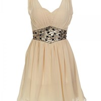 Layered Chiffon Dress with Sequin and Gem Embellishment