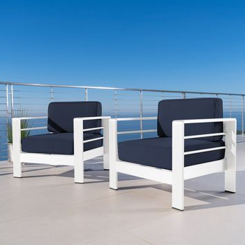 Crested Bay Outdoor Aluminum Club Chairs with Water Resistant Cushions