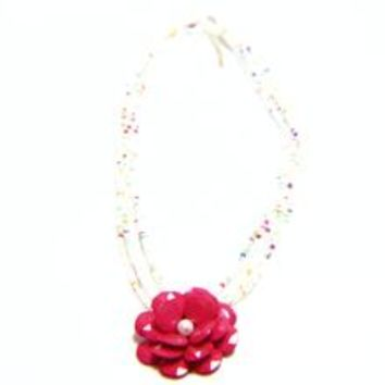 Faux Pearl Flower Pendant Mini Bead Necklace