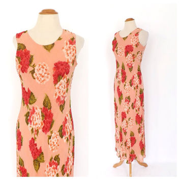 Vintage 90s does 1920s Lawn Dress Size Small Rayon Summer Sun Dress Romantic Peach Pink Rose Print Maxi Gown Floral 30s 40s Bias Cut Dress