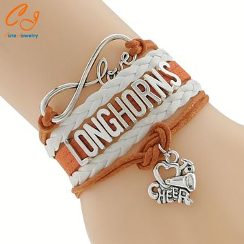 Infinity Love Longhorns Football Team Bracelet orange white Customize Texas Sport friendship Bracelets