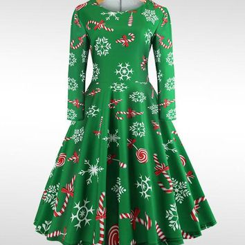 New Green Floral Draped Print Round Neck Long Sleeve Fashion Midi Dress