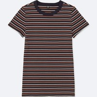 WOMEN STRIPED RIBBED CREWNECK SHORT-SLEEVE T-SHIRT